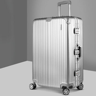 "28"" Travel Luggage Suitcase Lightweight Carry Bag Wheel Trolley Aluminum Silver"