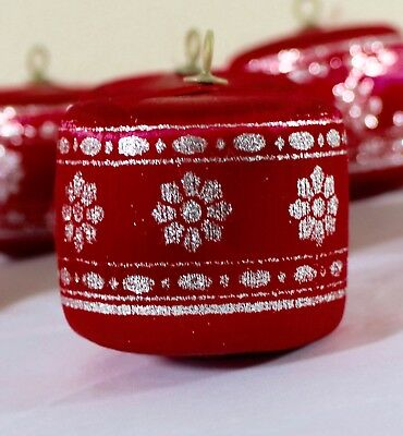 Lot of 8 Pyramid Christmas Ornaments Red Satin Drums Sliver Glitter Vintage