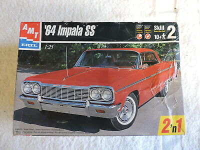 Vintage AMT 1964 Chevy Impala SS Toy Car Model Kit in Box, 1:25 Scale