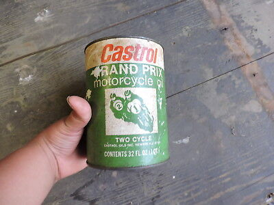 Vintage Empty Old Castrol Grand Prix Motorcycle Oil Can, (L)