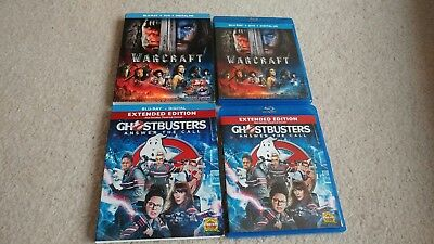 ghostbusters , warcaft (Blu-ray only with case) Please Read Description.
