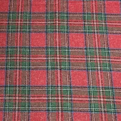 """2 Yds X 60"""" Wool Blend Vintage Fabric Plaid Red Green Blue"""