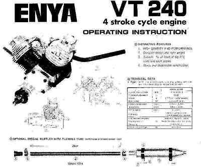 Enya Vt 240 Four Stroke Cycle Airplane Engine Instruction Owner Manual