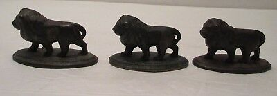 """Trio Cast Iron Lions Figurines, C. 1920, Good Weight, 1-3/4"""" tall, 2-3/4"""" Wide"""