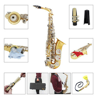 LADE Alto Saxophone Sax Glossy Brass Engraved Eb E-Flat with Case+Care Kit I0E6