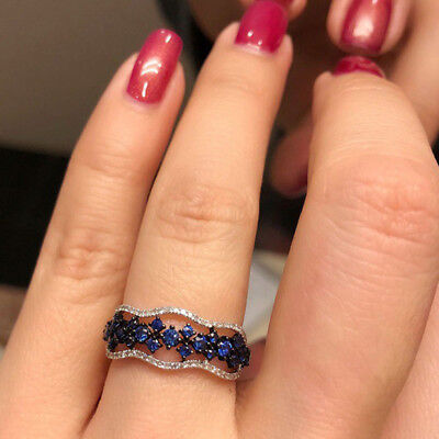 Fashion Women 925 Silver Filled Wedding Rings Blue Sapphire Ring Size 6-10