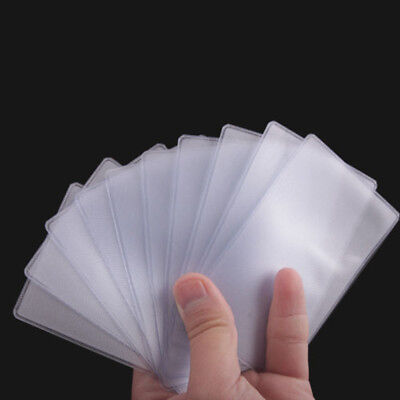 Dustproof 10X Soft Plastic Clear Credit Card Sleeves Holder Case Protectors US*