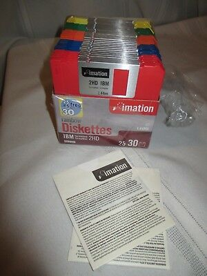 """New 30 pack Imation Rainbow Diskettes Formatted 3.5"""" 1.44MB Floppy Disks"""