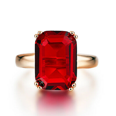 Vintage Antique Style Classical Ruby Red Crystal Women's Wedding Ring R175