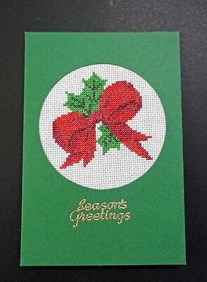 """Cross Stitch Card- """"Seasons Greetings""""- (Completed card)"""