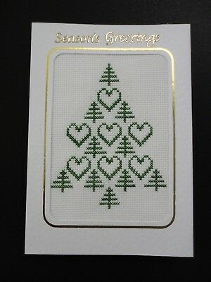 "Cross Stitch Card- ""Seasons Greetings""- (Completed card)"