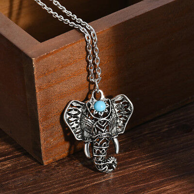 Ancient Silver Elephant Necklace Jewelry Gypsy Bohemian Ethnic Pendant Gift