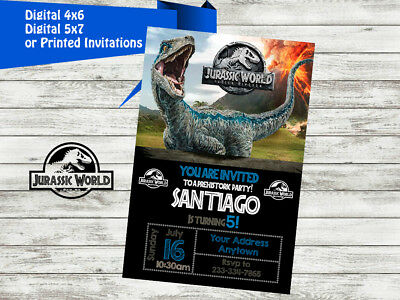 JURASSIC WORLD Birthday Party Invitations Personalized Custom