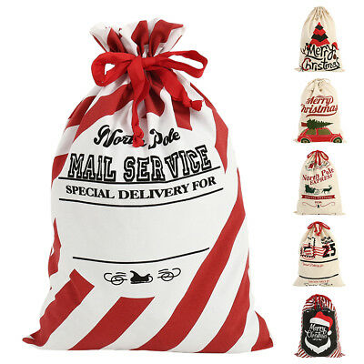 christmas gift bags santa sacks canvas pouch for candies drawstring xmas 50x70cm - Large Christmas Gift Bags