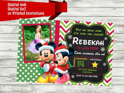 Christmas Birthday Party Invitations.Mickey Minnie Mouse Christmas Holidays Birthday Party Invitations Personalized