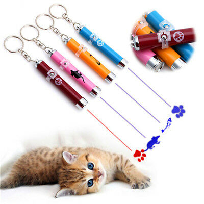 2018 Pet Play Funny Cat Toy LED Light Laser Pointer Pen w/Bright Mouse Animation
