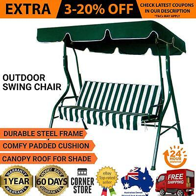 Outdoor Swing Seat 3 Chair Set with Canopy Cushion Steel for Patio Backyard