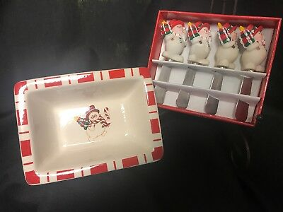 Holiday Moments Snowman Stoneware Christmas Dishes Square Bowl &Cheese Spreader