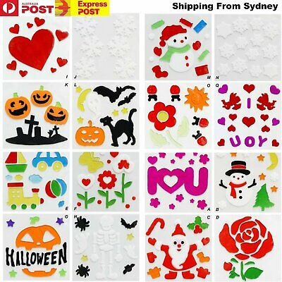 16 Options 3D Window Sticker Merry Christmas Wall Decals Gel Xmas Party Decorati