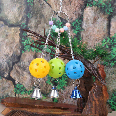 Small Caged Bird Bell Hanging Ball Swing Ring Toys Budgie Canary Finch Lovebirds