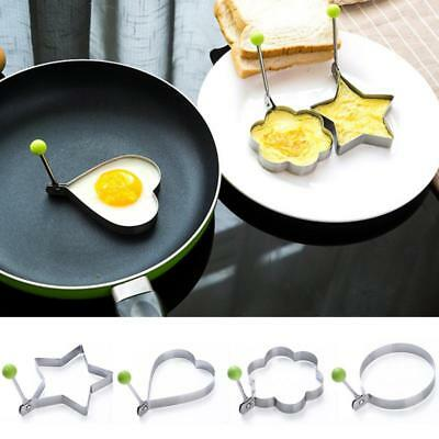 4 Pattern Stainless Steel Fried Egg Mold Flower/ Heart/ Round Shape Mould New