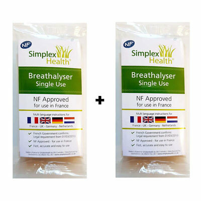TWIN PACK NF Approved Breathalyser for Driving in France / French / NF Certifed