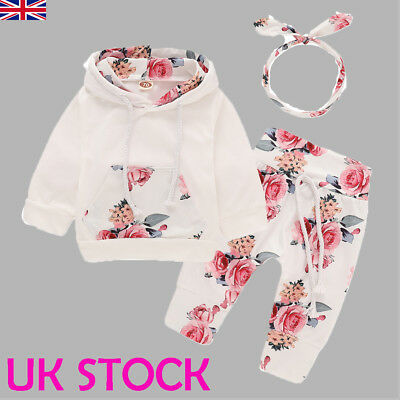 UK Newborn Baby Girls Clothes Hooded Tops Pants Autumn Outfits Sets Tracksuit