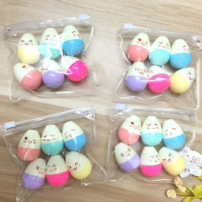 BC39 6 Colors Novelty Smile Egg Shaped Highlighter Marker Pen Office School