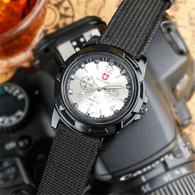 SWISS Round Dial Nylon Strap Band Men Boy Military Arm Quartz Wrist Watch Gift