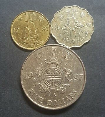 Hong Kong  10c, 20c and 5 dollar coin set 1997