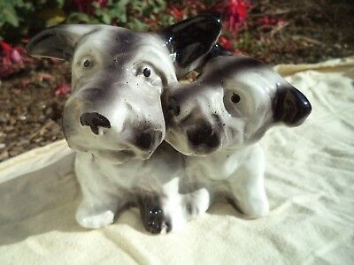 ancienne paire de chien porcelaine allemande Scottish Terrier Scottie Dog Figure