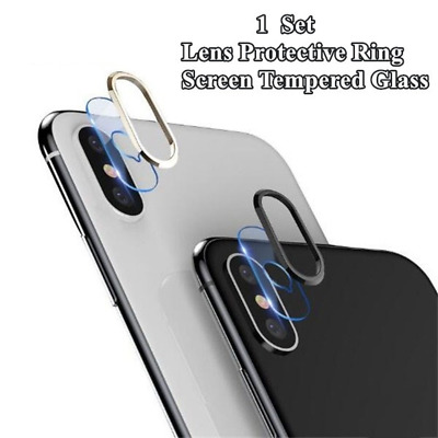 Tempered Glass Camera Lens Protector Cover w/ Metal Ring For IPhone X XS Max XR