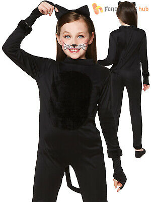Girls Black Cat Costume Childs Halloween Animal Fancy Dress Traditional Outfit