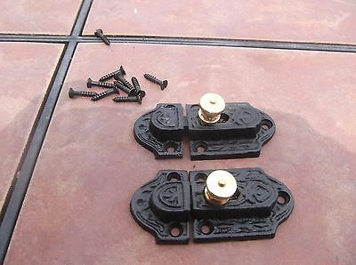 Pair Cast Iron and Brass Cabinet Turn Latches