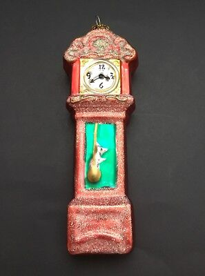 Vtg Glass Christmas Ornament Figural Grandfather Clock Mouse on Pendulum Glitter