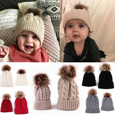 UK Mother Baby Knitting Pom Bobble Hat Winter Warm Beanie Knitted Matching  Cap 6f15141d4590