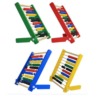 Wooden Abacus 10-row Colorful Beads Counting Kid Maths Learning Educational Toys