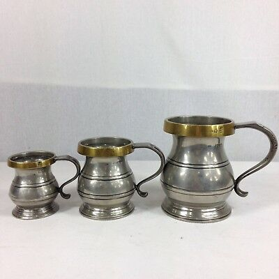Antique 19th Century Set Of 3 Graduated Pewter Tankard Measures Brass Rims Pint