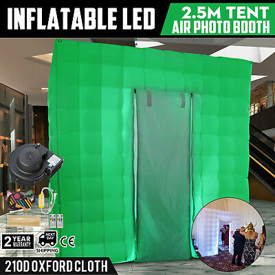 2.5M Inflatable LED Air Pump Photo Booth Tent Wedding Single Door Oxford Fabric