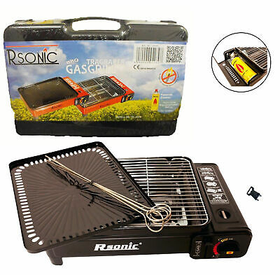 Portable Gas Stove BBQ Grill Plate Carry Case 1500kW Camping Outdoor Cooker