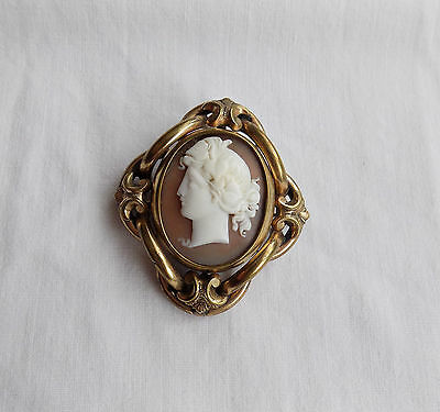 Large Victorian Gold Plated Shell Cameo Swivel Mourning Brooch Picture Locket