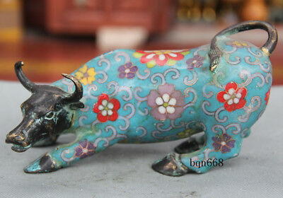 China old antique Genuine Cloisonne bronze Wall Street ox cow statue