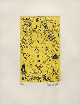 """John De Burgh Percival """"Nude and Bee"""" Etching Signed/Numbered 47/100 on margin"""