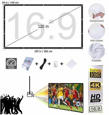 """120"""" 16:9 HD Projection Screen Home Projector Curtain Outdoor Cinema Theater UK"""
