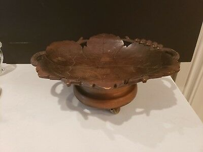 Antique/Vintage Hand Carved Musical Wood Candy Bowl / Dish Switzerland