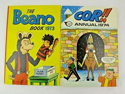 Vintage The Beano Book 1973 and Cor!! 1974 Annuals