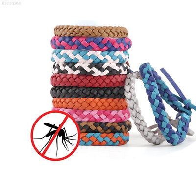 78EC Beautiful Repellent Wristband Weave PU Leather Pest Moths Mosquito Killer