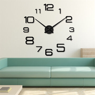 Creative Gift Big Watch Large Wall Clock 3D Sticker office Home Decor DIY Black