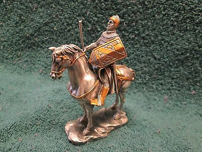 Medieval Knight on Horse - Silver & Gold Plated Pewter