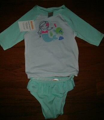 NWT Gymboree Girls Bathing Suit 3/4 Rashguard Sea Mermaid 18-24 Months